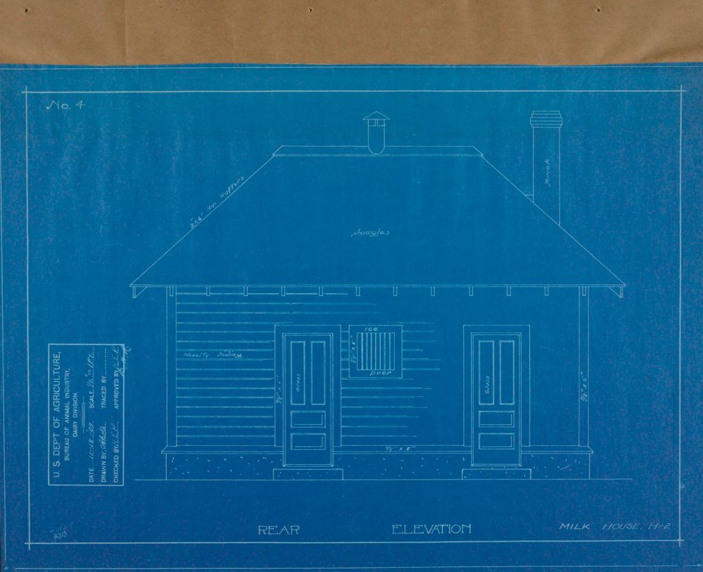 Health, General: United States: Plans Of Model Milk House: Rear Elevation