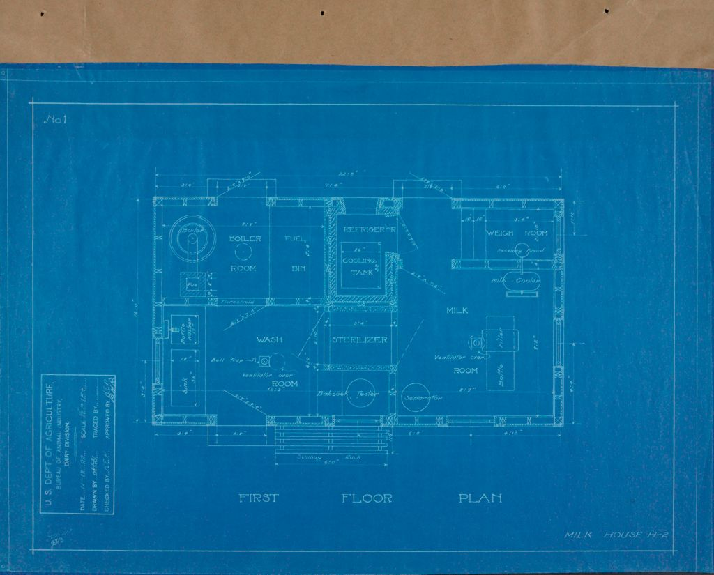 Health, General: United States: Plans Of Model Milk House: First Floor Plan