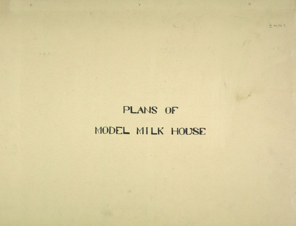 Health, General: United States: Plans Of Model Milk House
