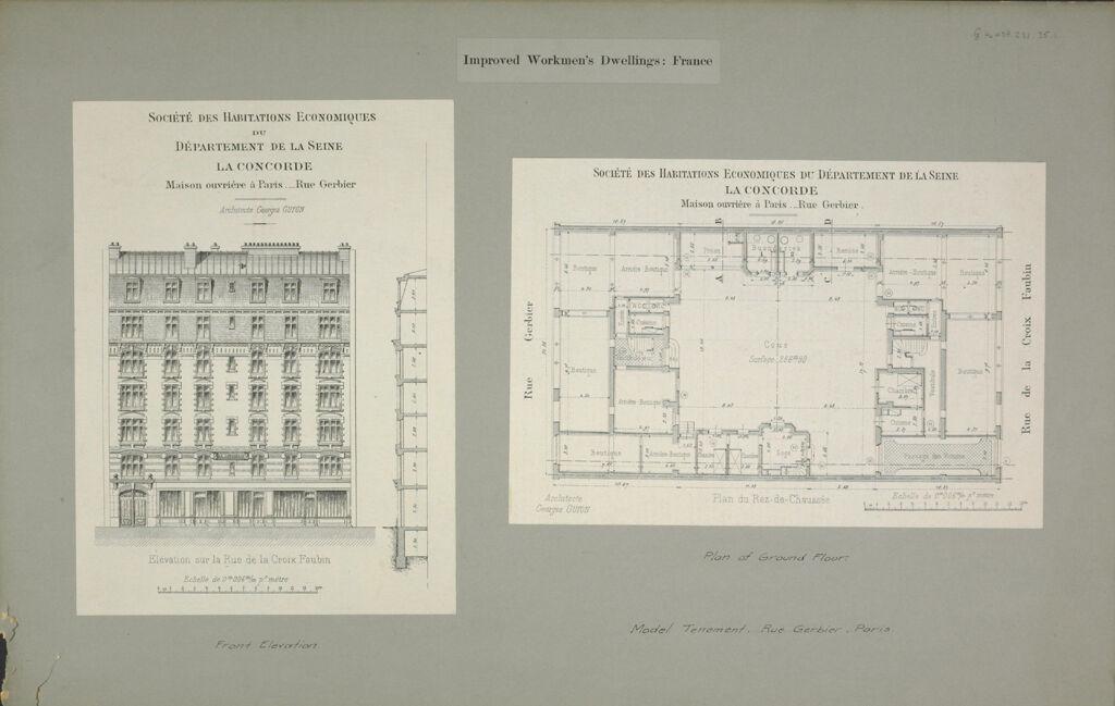 """Housing, Improved: France. Paris. """"Société Des Habitations Écon. Du Département De La Seine"""": Improved Workmen's Dwellings: France: Model Tenement, Rue Gerbier, Paris."""