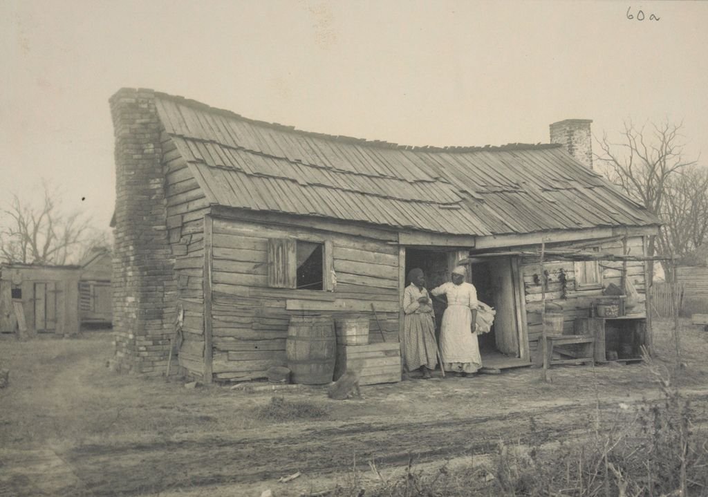 Races, Negroes: United States. Virginia. Hampton. Hampton Normal And Industrial School:  Environments Impeding The Assimilation Of The Negro. Hampton Normal And Agricultural Institute, Hampton, Va.: Double Cabin Near Hampton.