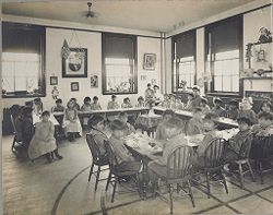 Races, Indians: United States. New York. Iroquois. Thomas Asylum for Orphan and Destitute Indian Children: State Thomas Asylum for Orphan and Destitute Indian Children, Iroquois, N.Y.: Kindergarten.   Social Museum Collection