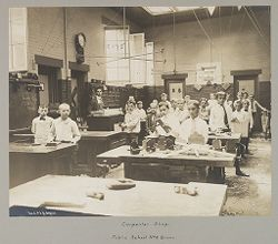 Education, Industrial: United States. New York. New York City. Vacation Schools: New York City Public Schools. Examples of Adaptation of Education to Special City Needs: Carpenter Shop. Public School No. 9 Bronx..   Social Museum Collection