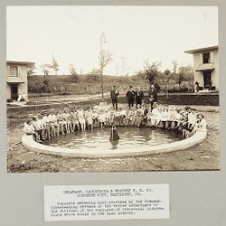 Industrial Problems, Welfare Work: United States. Pennsylvania. Nauticoke.: Industrial Welfare Work. Provision of Facilities for Recreation. Delaware, Lackawanna & Western R.R. Co. Concrete City, Nauticoke, PA. Concrete swimming pool provided by the Company.  Illustrating certain of the varied advantages to the children of the employees of industrial corporations which build in the open country..   Social Museum Collection