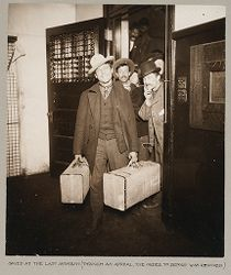 Races, Immigration: United States. New York. New York City. Immigrant Station: Regulation of Immigration at the Port of Entry. United States Immigrant Station, New York City: Saved at the last moment (through an appeal, the order to deport was revoked.).   Social Museum Collection