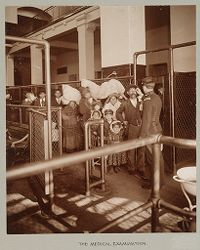 Races, Immigration: United States. New York. New York City. Immigrant Station: Regulation of Immigration at the Port of Entry. United States Immigrant Station, New York City: The Medical Examination..   Social Museum Collection