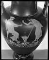 Nolan Amphora (Storage Jar): Seated Woman And Man With Staff; Draped Man With Staff