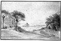 Landscape; Verso: Landscape Sketch With Monument