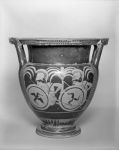 Column Krater (mixing bowl for wine and water): Two Warriors in Ambush Crouching in Trees