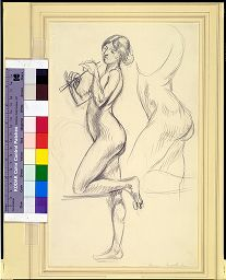 Two Sketches Of A Nude Girl Playing A Flute