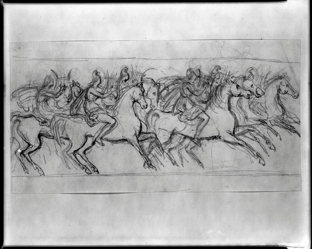 Amazons On Horseback Playing Lyres