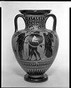 Neck Amphora (Storage Jar): Herakles And Erymanthian Boar; Warrior Farewell Scene
