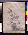 Seated Peasant Drinking; Verso: Blank Page