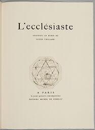 Ecclesiastes Plate I