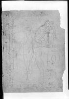 Two Faint Sketches Of Napoleon; Princess Louis Kneeling Beside Prince Napoleon-Charles; Verso: Napoleon Striding Forward While Holding The Crown