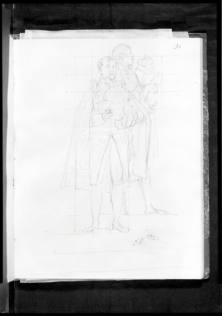 Sketch Of Two Chamberlains Holding Their Hats