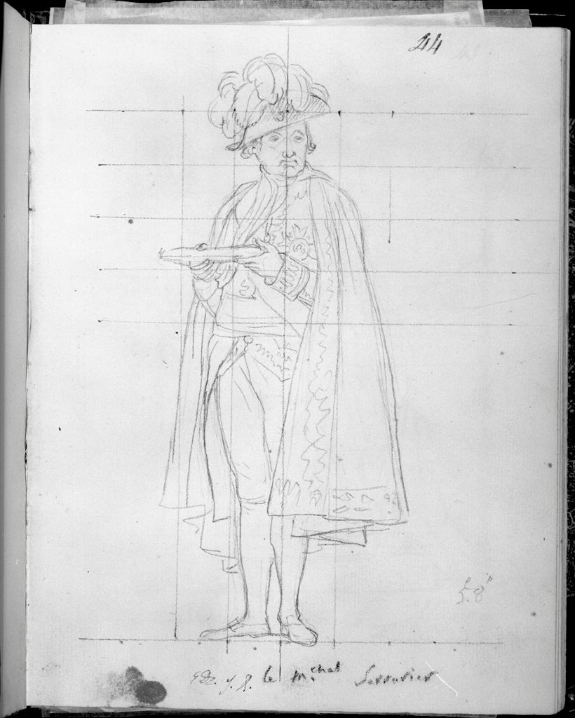 Comte Sérurier, Maréchal De France, Holding The Empress' Ring On A Salver; Verso: Sketch Of Madame Mère And Five Attendants In Her Loge