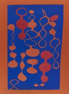 Untitled (BMC.121, Exercise in color vibration and figure background that resembles Asawa's later biomorphic looped sculptural form)