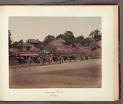 Work 23 of 30 Title: Rickshaws lined up at Ueno Park, Tokyo Date: 188-?