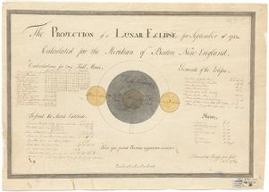 The Projection of a Lunar Eclipse for September 10th, 1783, calculated for the Meridian of Boston, New England. Barnabas Hedge, Jun. Digital Object