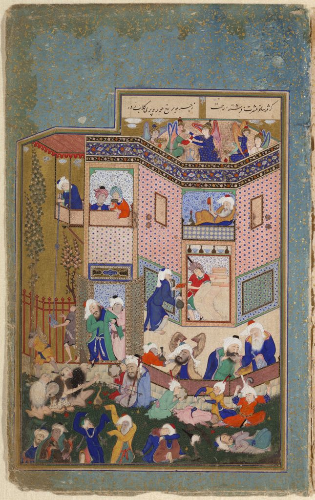 Earthly Drunkenness (Painting Recto; Text Verso), Illustrated Folio From A Manuscript Of Divan Of Hafiz