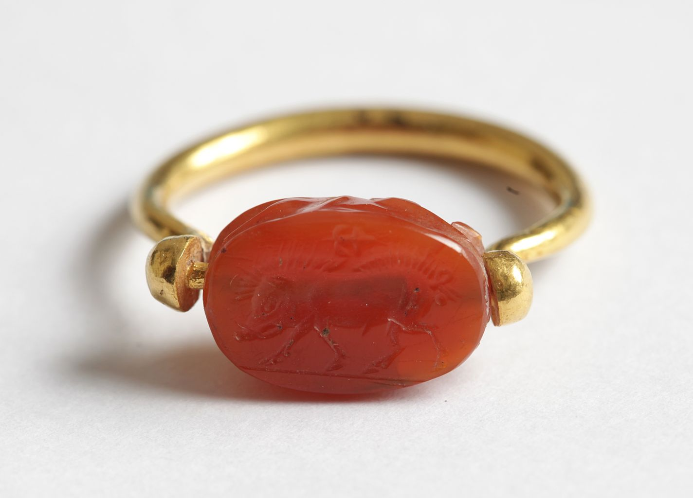 Gold seal ring with carnelian scarab
