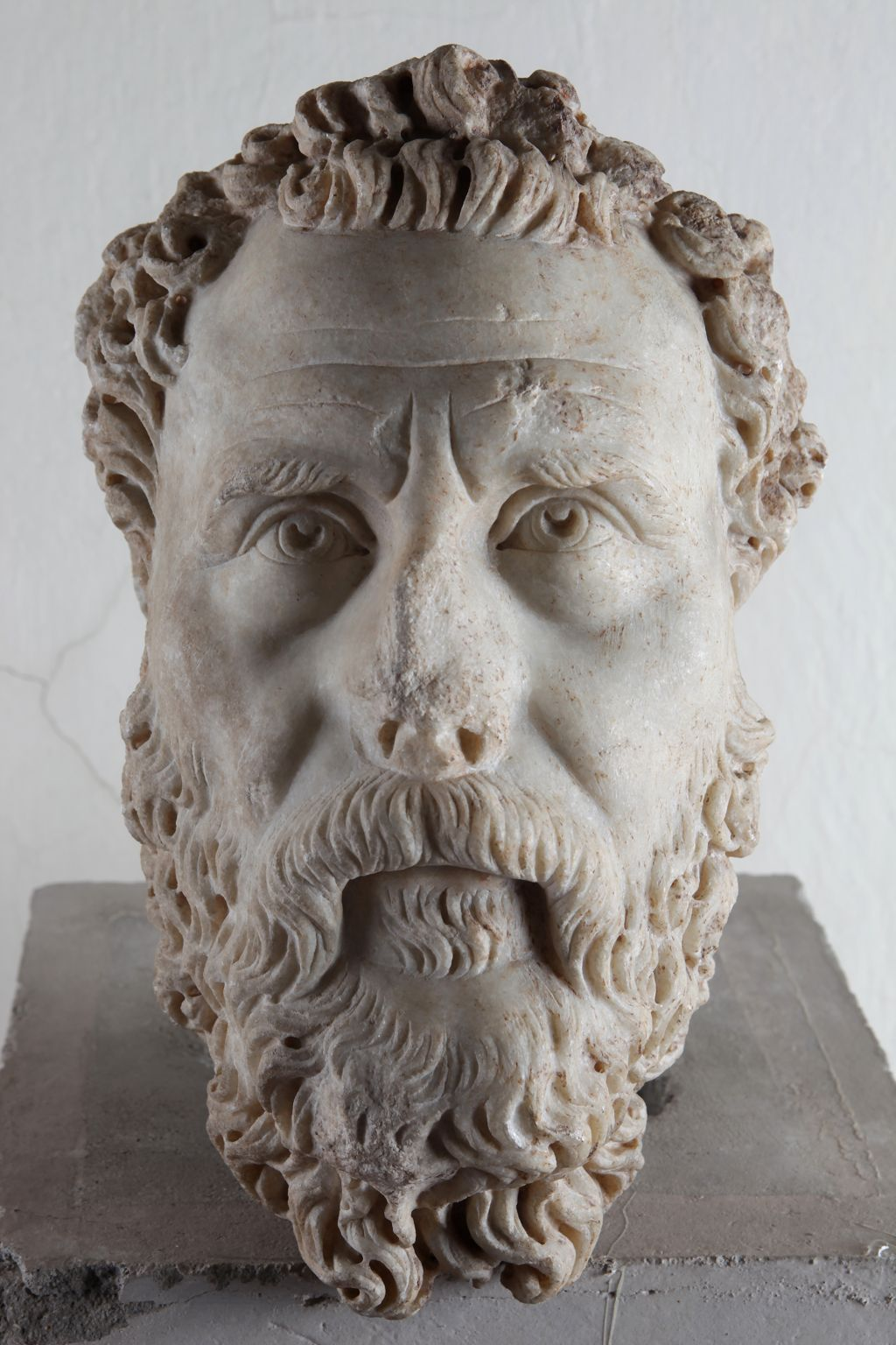 Marble head of bearded man