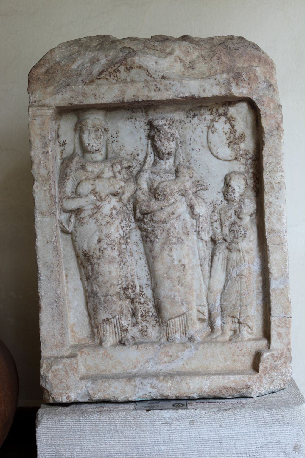 Marble Votive Stele Showing Artemis and Cybele
