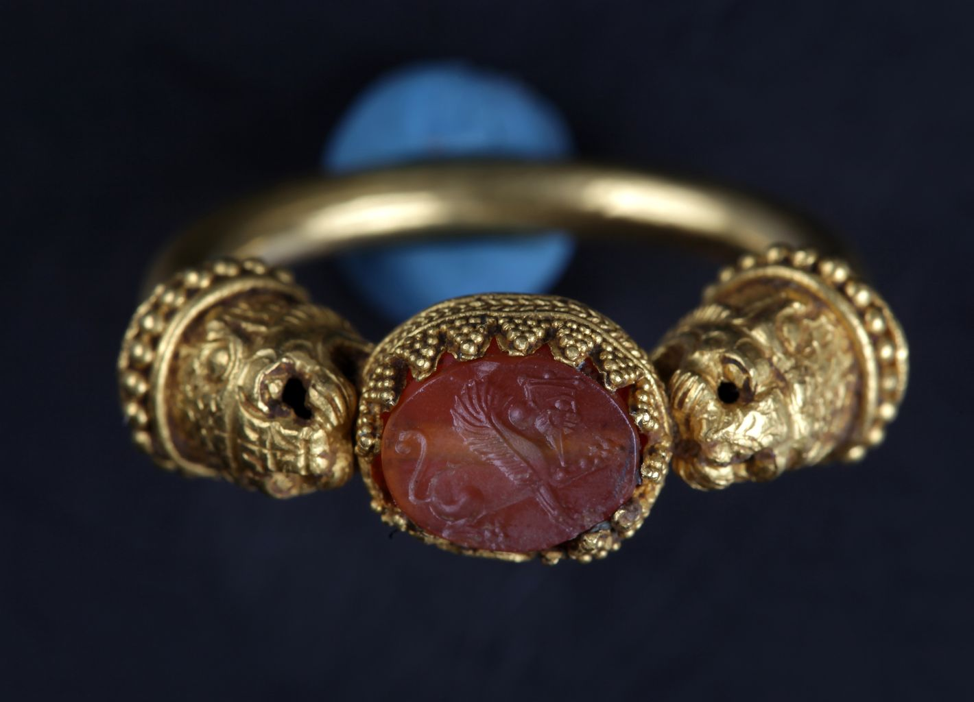 Gold seal ring with stone bezel