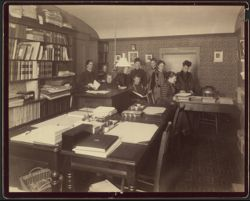 Observatory girls with Mrs. Draper, 1891.   [Observatory computer room and staff], 1891