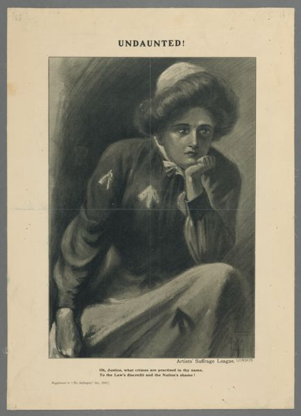 Undaunted! Poster of woman with her chin in her hand.