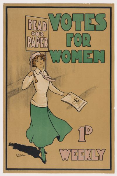 """Poster: Woman holding placard """"Read our Paper"""" and the newspaper """"Votes for Women."""""""