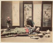 Work 36 of 48 Title: Masseur giving massage to woman lying on... Creator: Tamamura, Kozaburo Date: 188-?