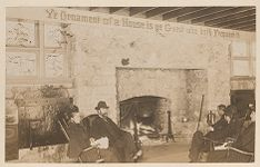 Work 44 of 58 Title: People sitting in rocking chairs by fire... Date: ca. 1895