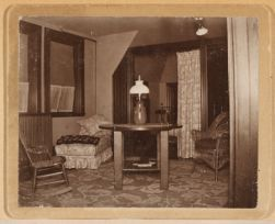 Nurses' living room with cubicle bed rooms on third floor, seven cubicles - and a bath for the Superintendent and nurses off the hall. 1896.
