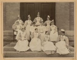Dr. J. M. Montoya and Miss Hannah J. Ewin (centre). Post graduate class of nurses - 1896 - 1897.