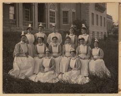 Post graduate class of nurses - 1906.  Miss Hannah Jane Ewin, Superintendent - top row - 3rd from left.