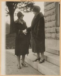 Mrs. Louis Frothingham greeting Miss Julia Marlowe on the steps of the Free Hospital for Women, Brookline, Mass. November 4, 1927