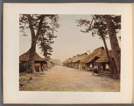 Work 12 of 50 Title: Thatched roof houses lining road, somewh... Creator: Tamamura, Kozaburo Date: ca. 1880