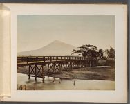 Work 13 of 50 Title: Wood bridge crossing river, with Mt. Fuj... Creator: Tamamura, Kozaburo Date: 188-?