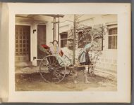 Work 41 of 50 Title: Woman in rickshaw, with driver Creator: Attributed to Tamamura, Kozaburo Date: 188-?