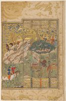 Rustam Fending Off The Rock Dropped By Bahman (Painting, Recto; Text, Verso), Folio From A Manuscript Of The Shahnama By Firdawsi