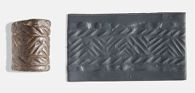 Cylinder seal with zig-zag design within border
