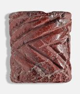 Red stone cylinder seal with herringbone pattern
