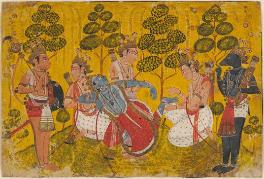 Six figures occupy a shallow space with a bright yellow background. They are bare-footed and bare-chested and wear red and white garments on their lower bodies. On their upper bodies they wear sashes, necklaces, and gold-colored headgear topped with purple blossoms. The central figure has blue skin. Three figures hold him up, supporting his shoulders, outstretched arm, and upturned foot. To the right and left of the central group stand two animal-headed figures. The one on the left has tan skin, a rounded muzzle, and a long, curving tail; he holds a mace and circular shield. The figure on the right has dark gray skin, a tapering muzzle, and a short, pointed tail; he holds a quiver with arrows. There are four ornamental trees in the background.