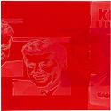 Jfk Double Close-Up In Red