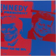 JFK Double Close-Up in Blue and Red