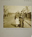 Charity, Aged: United States. New York. New York City. Home for Aged and Infirm, Manhattan Division, Blackwell's Island: New York City Home for the Aged and Infirm: Old Married Couple Taking Their Daily Constitutional..   Social Museum Collection