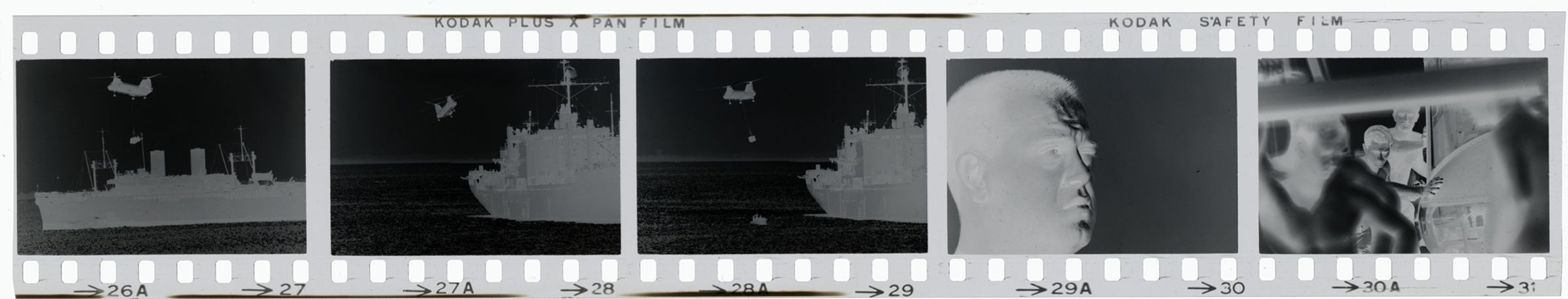 Untitled (Sea Knight Helicopter Hovering Above Navy Ship; Portrait Of A Soldier; Soldiers Working On Helicopter Or Small Plane, Vietnam)