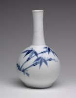 Long-Necked, Globular Bottle With Bamboo And Blossoming Plum Decor